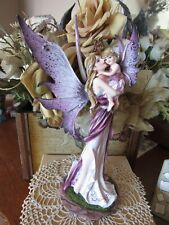 Large Fairy Land Legends Purple Water Fairy Figurine with Hummingbird New in Box