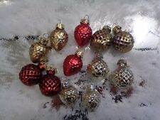 """Christmas Vintage Style MINI RED GOLD SILVER Glass Ornaments 1.25"""" Set of 12 new"""