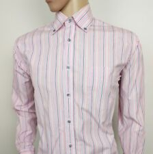 "Hackett London Mens Dress Shirt Pink Blue Oxford Size M Chest 42"" RRP£125 Italy"