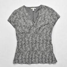 Banana Republic Short Sleeve Gray Lace Blouse SIZE 8 Petite Women's