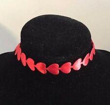 Silky Red Heart Patterned Choker Necklace