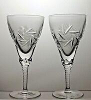 BOHEMIAN CRYSTAL PINWHEEL CUT CLARET WINE GLASSES SET OF 2 WITH ORIGINAL BOX