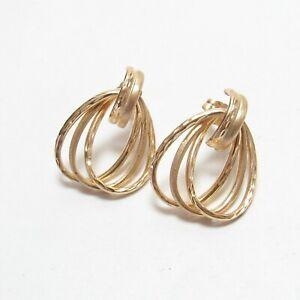 Estate 14K Yellow Gold Interlocking Oval Drop Earrings