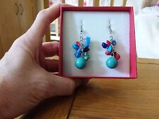 Brand new Tibetan silver dangling earrings with real turquoise and multi gems
