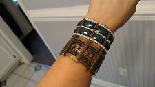 Set of 2 Gold Metal Green Gem CZ Stretch Fashion Wrap Bracelet