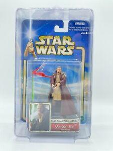 "2002 Hasbro Star Wars Saga 02-32 Jedi Master Qui-Gon Jinn 3.75"" Fig w/ Star Case"