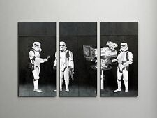 Banksy Stormtroopers Filming Oscars Stretched Canvas Triptych Print. BONUS DECAL