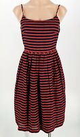 J. CREW Striped Derby Nautical Style Linen Blend Red Navy Blue Dress Size 2