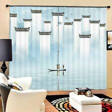 Blue High Low Walls 3D Curtain Blockout Photo Printing Curtains Drape Fabric
