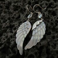 Angel Wings Earrings. Mother of Pearl. Blue Topaz. Sterling Silver. Handmade.