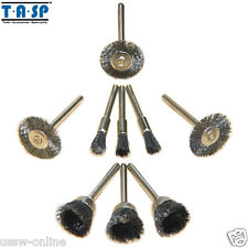 """9PC Dremel Rotary Steel Wire Brushes Wheels Set with 1/8"""" Shank Dremel Accessory"""