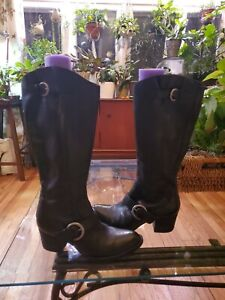 Born Black Leather Tall Buckled Boots 9 40.5 NEW