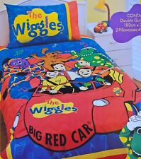 ~ Wiggles & BIG RED CAR DOUBLE BED DOONA QUILT DUVET COVER + Bonus Dinner Set