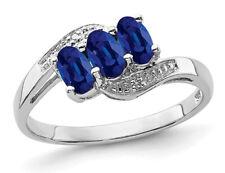 1.00 кар (Ctw) три камня натуральный синий сапфир кольцо из чистого серебра