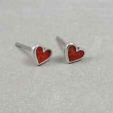 925 Sterling Silver Tiny Red Heart Post Earrings - Valentine's Day Gift NEW