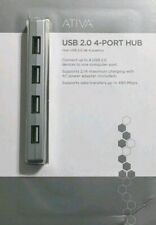 Ativa USB 2.0 4-port HUB w/ AC Power Adapter Silver Compatible w/ Windows & Mac