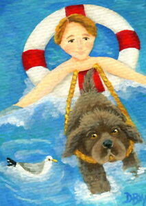 ACEO original miniature art painting animal Newfie puppy dog seagull beach boy