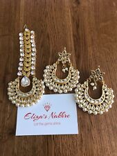White And Gold Meena Kundan Maang Tika Set Indian/Pakistani Bollywood Style