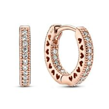 Genuine Pandora Rose Gold Pave Sparkling Heart Hoop Earrings 286317C01 NEW! NR!
