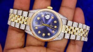 Rolex 36mm 2 Tone Jubilee Watch Fully iced out watch
