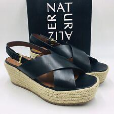 Naturalizer Oak Slingback Espadrille Sandal Size 10W Black Leather, MSRP $99