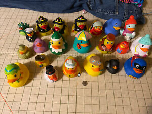 Rubber Ducky, Duckies Mixed Lot of 22 Firemen, military snowman Demon Holiday