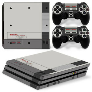 PS4 Pro Playstation 4 Console Skin Decal Sticker Old NES Retro Custom Design Set