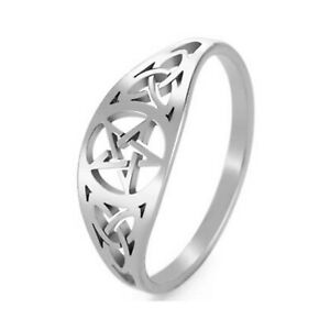 Celtic Pentacle Ring Silver Stainless Steel Protection Star Trinity Knot Band