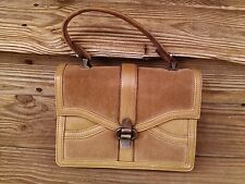 Vtg Tano of Madrid suede and leather handbag purse with antique brass findings