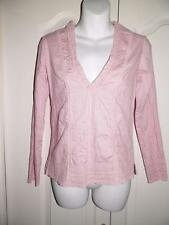 FREE PEOPLE Pink CROCHET TRIM Long Sleeve Blouse Shirt Size 4