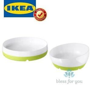 IKEA SMAGLI Baby Feeding Plate Bowl White Green