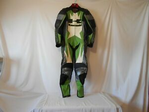mens-KAWASAKI-one piece-leather racing suit(small)armored-green/black