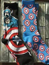 New Size 6-12 Two Pack of Captain America X Marvel Comics Crew Socks