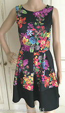BLACK BRIGHT RED ORANGE YELLOW GREEN PINK FLORAL SKATER DRESS 8 10 12 14 16