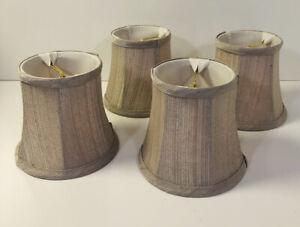 "Set 4 Chandelier Mini Lamp Shades Silk Beige Tan Clip On Bell Softback Fabric 5"""