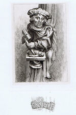Arcade Figure of Sculptor-Vergeaux Street in Amiens France-1879 Copper Engraving