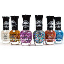 KLEANCOLOR NAIL POLISH TEXTURED GLITTER TOP COAT LOT OF 6 COLORS - KNP15