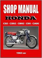 HONDA Workshop Manual C92 CS92 CB92 C95 CA95 1959 1960 1961 1962 1963 to 1966