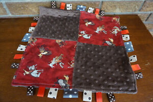 SECURITY Blanket RODEO Cowboy Western Red BROWN Lovey Soft Minky DOTS Tags Edges
