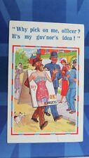 Vintage Comic Postcard 1930s Corset Girdle Stockings Poster Advert Police Theme