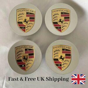 Porsche Silver Colour Crested Wheel Centre Caps, 911, Boxster, Cayenne x 4pcs