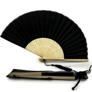 Silk Fabric Fan with a Tassel Grade A Bamboo Ribs Handheld Wedding Fan pack of 1