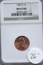 1987-D 1c MS67RD BUSINESS NGC FREE SHIPPING! WHOLESALE DEALER COST!