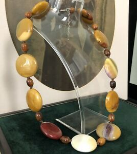 (63cm) Statement Necklace Mookaite Jasper Agate Bead Palm Stone 925 Silver Clasp