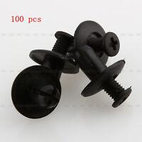 100X 8mm Rivets Fixation Clips Plastique Pare-boue Voiture C20 Noir Auto