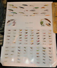 "3 Vintage Fly Fishing Posters 1954 Family Circle Flies 21.5"" x 28"""