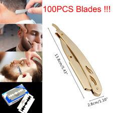 Stainless Steel Handle Straight Edge Barber Razor Fold Shaving Knife 100 Blade