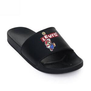 Levis x Super Mario Supermario Sliders Black Schlappen Sandalen Badelatschen