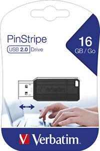 Verbatim USB 2.0 Stick 16 GB, PinStripe, schwarz USB FlashDrive 16GB