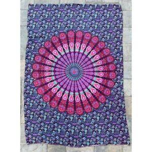 Mandala Purple 100% Cotton Poster Size Wall Hanging Tapestry 45 x 29 Decor Art